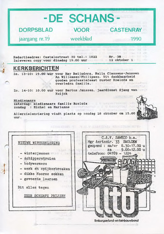 Castenrays dorpsblad De Schans 1990-10-12