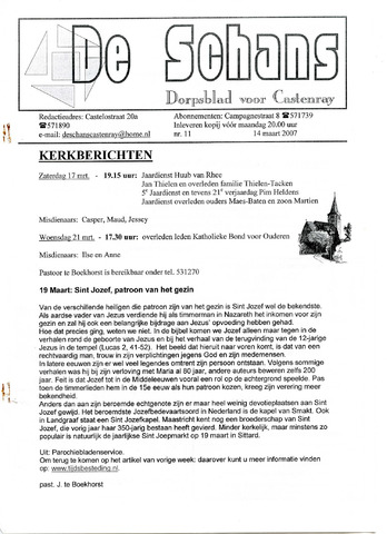 Castenrays dorpsblad De Schans 2007-03-14
