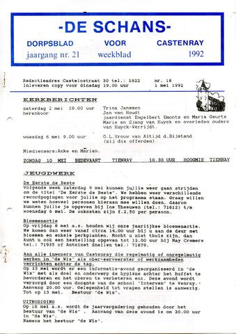 Castenrays dorpsblad De Schans 1992-05-01