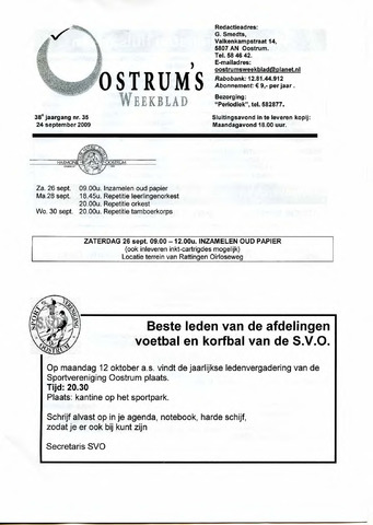 Oostrum's Weekblad 2009-09-24