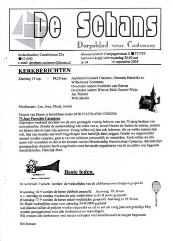 Castenrays dorpsblad De Schans 2008-09-10
