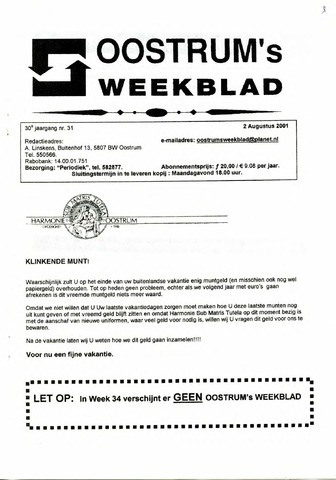 Oostrum's Weekblad 2001-08-02