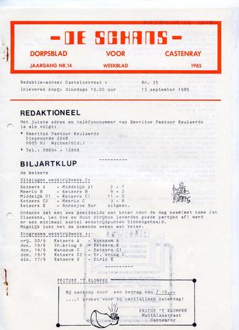 Castenrays dorpsblad De Schans 1985-09-13