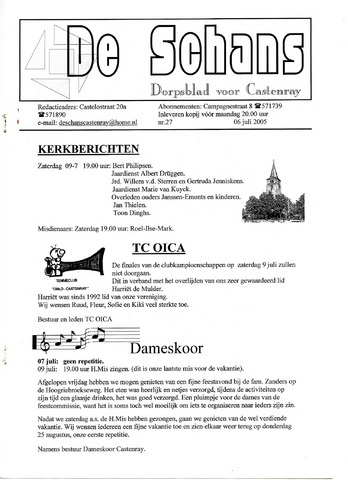 Castenrays dorpsblad De Schans 2005-07-06