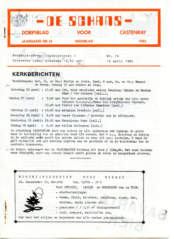 Castenrays dorpsblad De Schans 1985-04-19