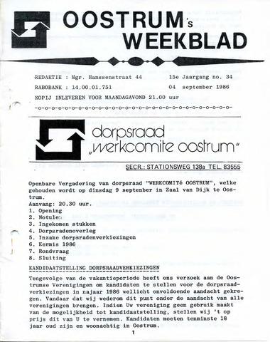 Oostrum's Weekblad 1986-09-04