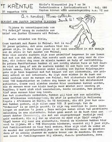 Oirlo's dorpsblad 't Krèntje 1970-08-21