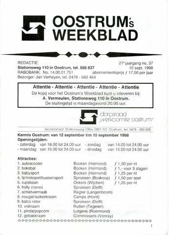 Oostrum's Weekblad 1998-09-10