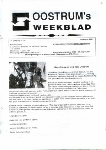 Oostrum's Weekblad 2001-11-01