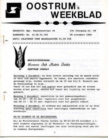 Oostrum's Weekblad 1984-11-29