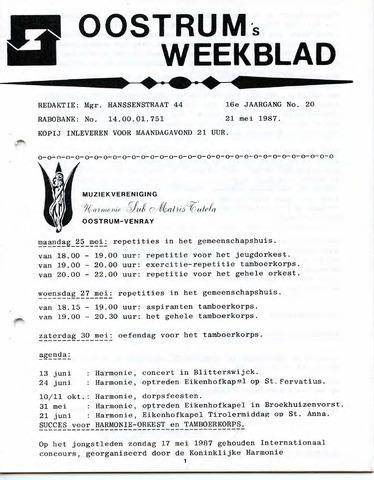 Oostrum's Weekblad 1987-05-21