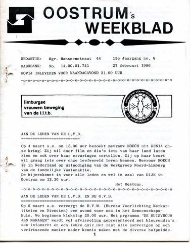 Oostrum's Weekblad 1986-02-27
