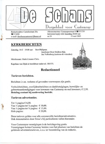 Castenrays dorpsblad De Schans 2005-05-11