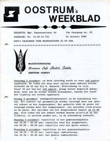 Oostrum's Weekblad 1985-10-31