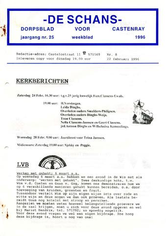 Castenrays dorpsblad De Schans 1996-02-22