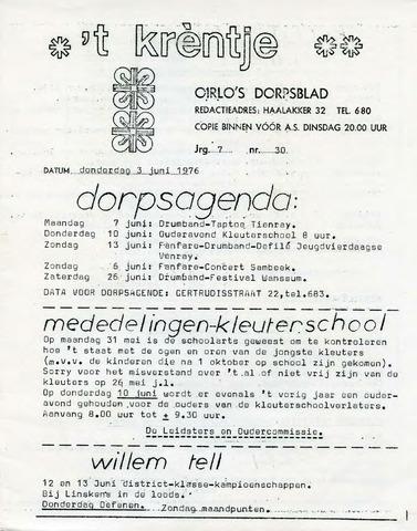 Oirlo's dorpsblad 't Krèntje 1976-06-03
