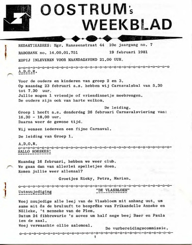 Oostrum's Weekblad 1981-02-19
