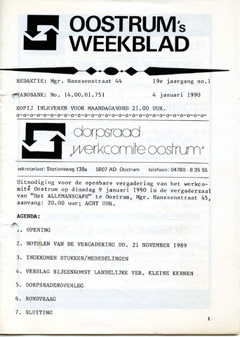 Oostrum's Weekblad 1990-01-04
