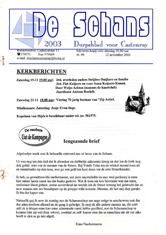 Castenrays dorpsblad De Schans 2003-11-12