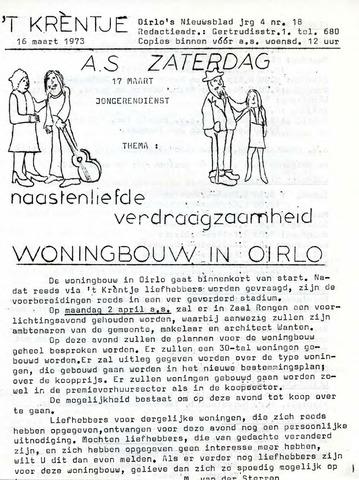 Oirlo's dorpsblad 't Krèntje 1973-03-16