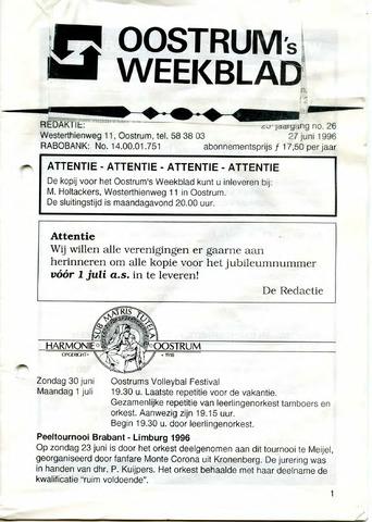 Oostrum's Weekblad 1996-06-27
