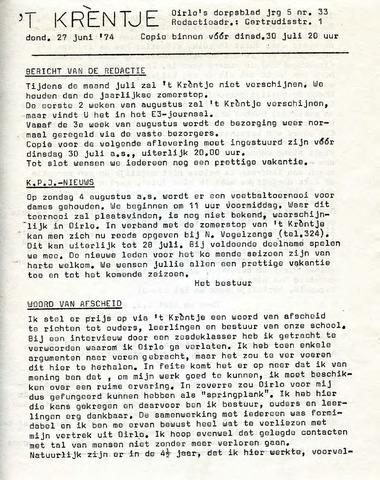 Oirlo's dorpsblad 't Krèntje 1974-06-27