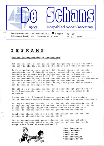 Castenrays dorpsblad De Schans 1997-07-10