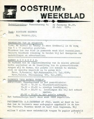 Oostrum's Weekblad 1974-07-26
