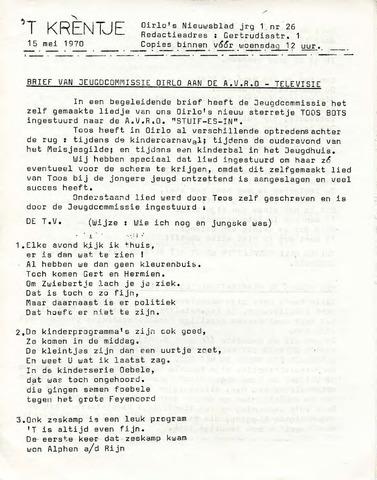 Oirlo's dorpsblad 't Krèntje 1970-05-15