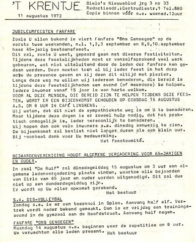 Oirlo's dorpsblad 't Krèntje 1972-08-11