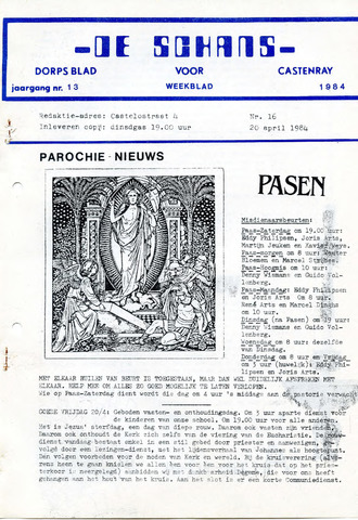Castenrays dorpsblad De Schans 1984-04-20