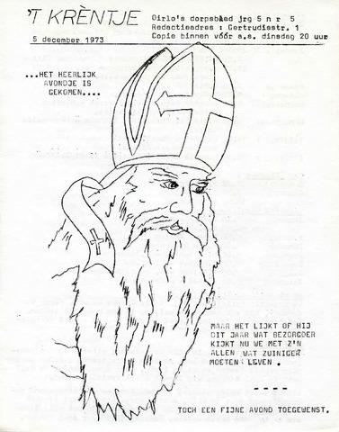 Oirlo's dorpsblad 't Krèntje 1973-12-05