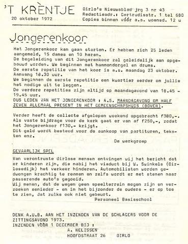 Oirlo's dorpsblad 't Krèntje 1972-10-20