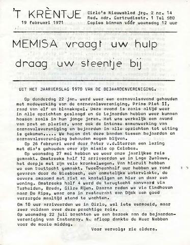 Oirlo's dorpsblad 't Krèntje 1971-02-19
