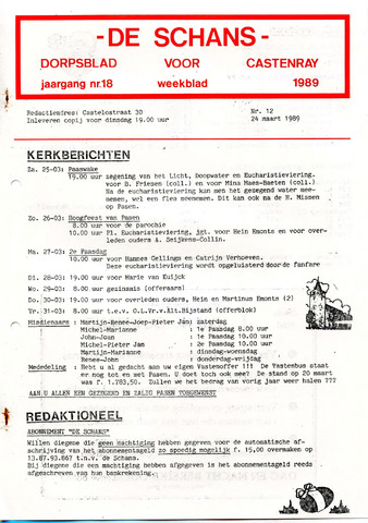 Castenrays dorpsblad De Schans 1989-03-24