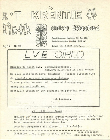 Oirlo's dorpsblad 't Krèntje 1979-03-22