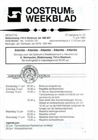 Oostrum's Weekblad 1998-06-11