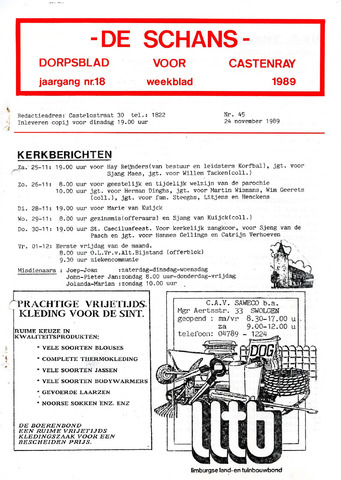 Castenrays dorpsblad De Schans 1989-11-24