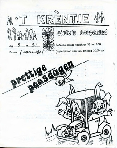Oirlo's dorpsblad 't Krèntje 1977-04-07