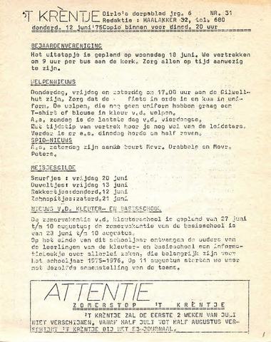 Oirlo's dorpsblad 't Krèntje 1975-06-12