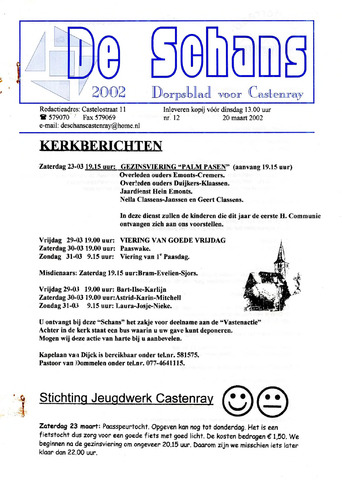 Castenrays dorpsblad De Schans 2002-03-20