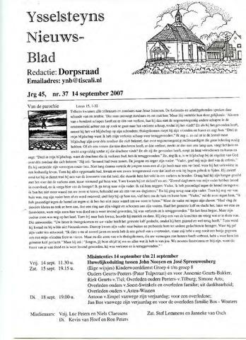 Ysselsteyns Nieuwsblad 2007-09-14