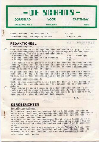 Castenrays dorpsblad De Schans 1986-04-18