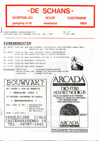 Castenrays dorpsblad De Schans 1989-07-07