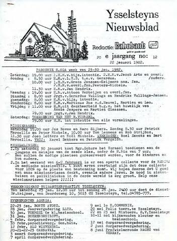 Ysselsteyns Nieuwsblad 1982-01-22