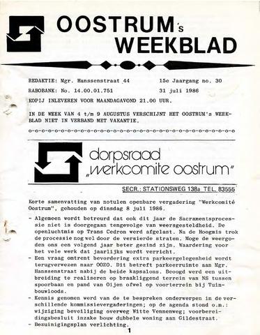 Oostrum's Weekblad 1986-07-31