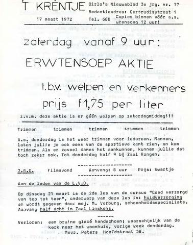 Oirlo's dorpsblad 't Krèntje 1972-03-17