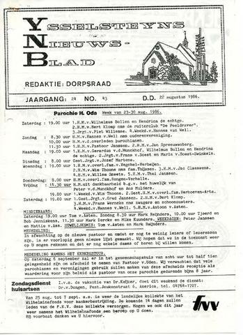 Ysselsteyns Nieuwsblad 1986-08-22