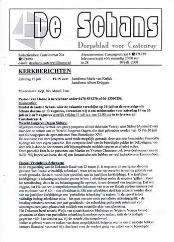 Castenrays dorpsblad De Schans 2008-07-09