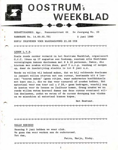 Oostrum's Weekblad 1980-06-05